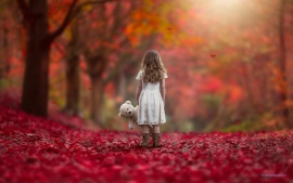 Autumn Leaves Girl With Teddy Bear