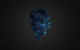 Blue Dragon Logo on Black Wall
