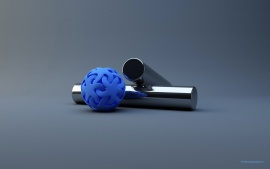 Blue rubber ball near the metal cylinders (click to view)