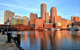 Boston, Massachusetts, Boston Harbor, Boston Bay, building, bridge, port, quay