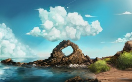 Clouds Sky Art Rocks Sea