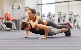 Couple Workout Gym Boy And Girl Pushups