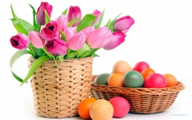 Easter Eggs and Pink Tulips (click to view)