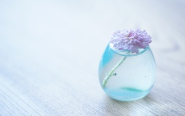 Flower Glass Vase Light Blue