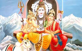 Ganesh With Sanakar Parvati Beautiful Hd Wallpaper