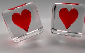 Heart in glass cubes