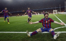 Lionel Messi Celebrating Fc Barcelona Goal