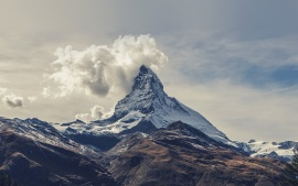 matterhorn, mountains, clouds, sky, landscape, nature
