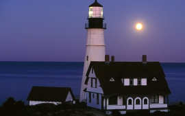 Moon Rise Over Portland Head Lighthouse, Portland, Maine