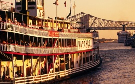 Paddlewheeler Natchez Docking at the Riverwalk, New Orleans, Louisiana
