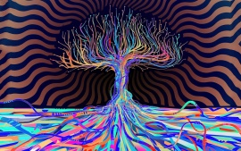 Psychedelic Colors Abstract Tree