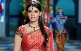 Samantha Indian Actress In Red Saree Sari