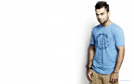 Virat Kohli Handsome Indian Cricketer In Sky Blue T Shirt