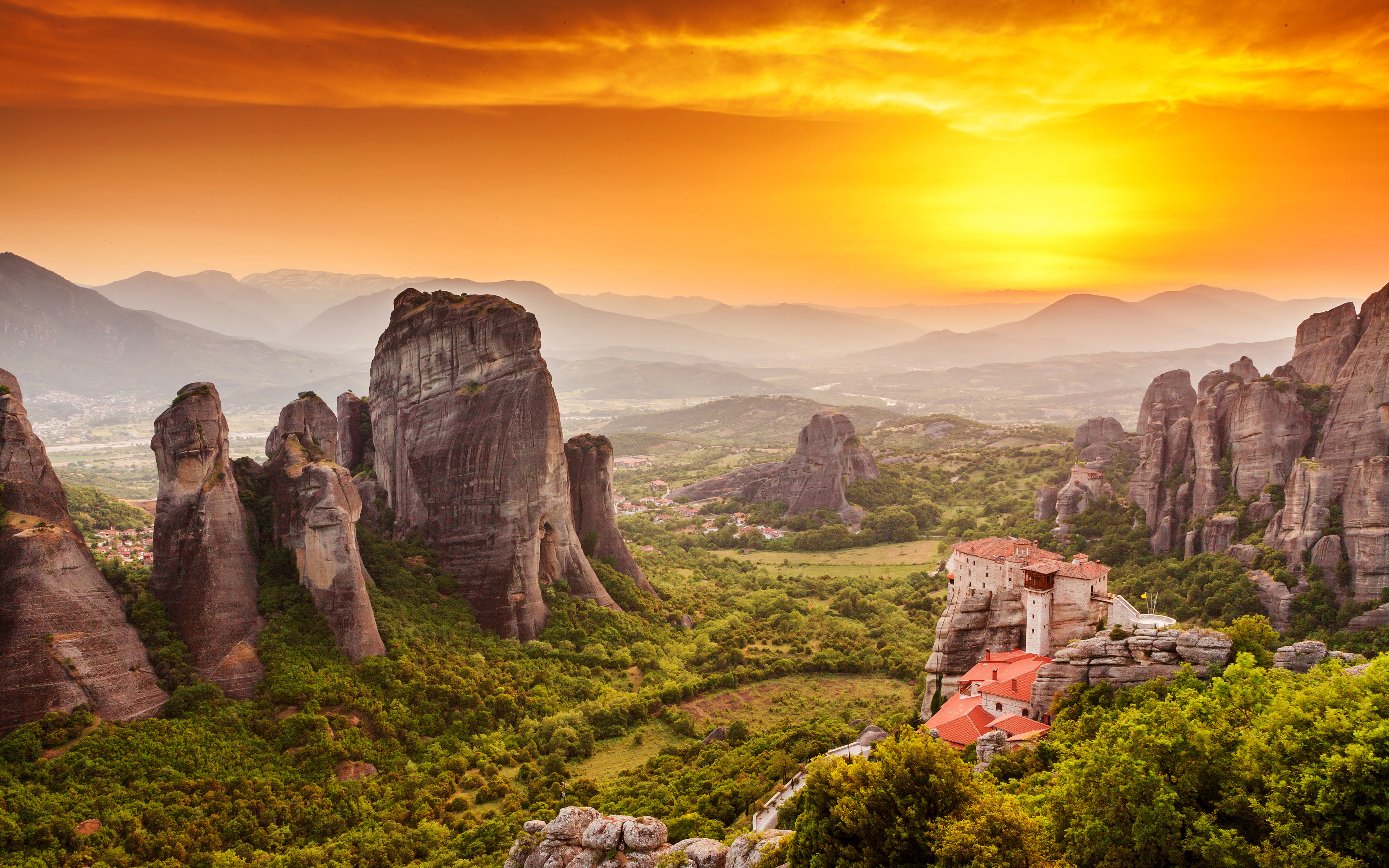 Meteora monastery sunset greece wallpapers for Best windows in the world