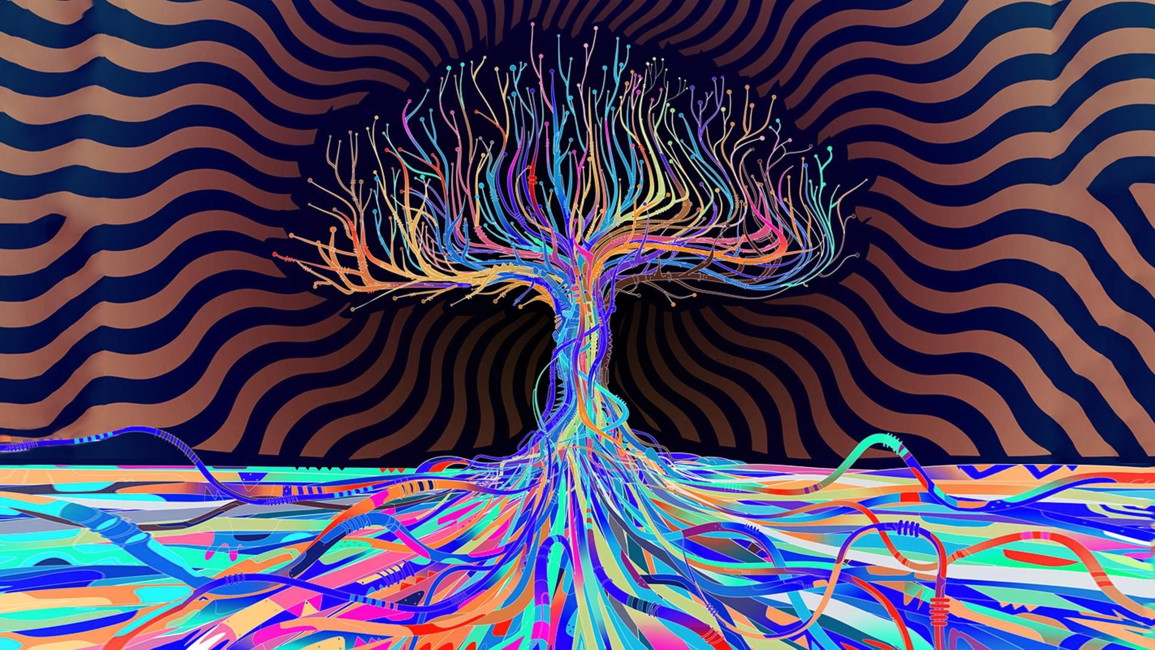 Description Download Psychedelic Colors Abstract Tree HD Widescreen Wallpaper